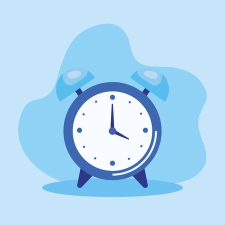 alarm clock object with time symbol over blue background, vector illustration Иллюстрация