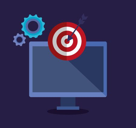 computer technology and target with arrow and gears to office startegy vector illustration