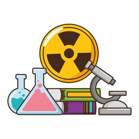 school science test flasks radiation sign vector illustration design