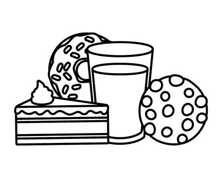 donut cake cookie soda fast food white background vector illustration