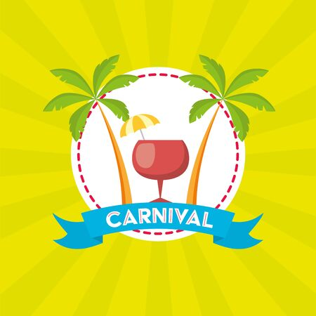 cocktail palm beach brazil carnival festival vector illustration Illustration