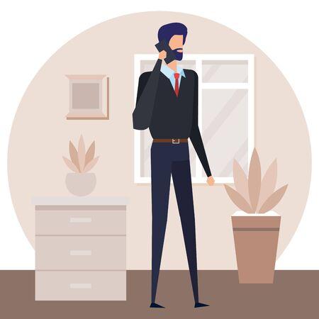 businessman worker calling with smartphone in house corridor vector illustration Archivio Fotografico - 129155093