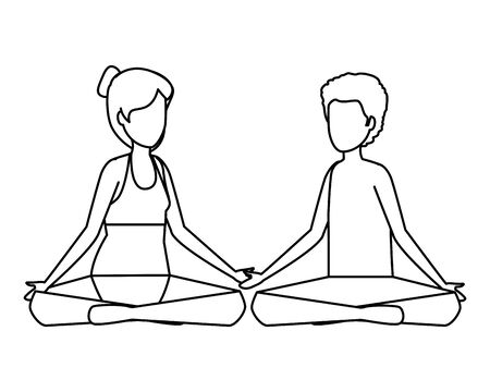 young couple with swimsuit practicing yoga vector illustration design