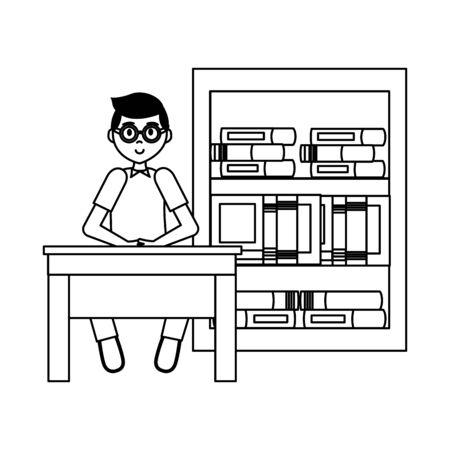 boy with laptop bookshelf books teachers day  vector illustration