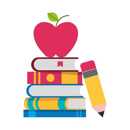 school books apple pencil supplies vector illustration