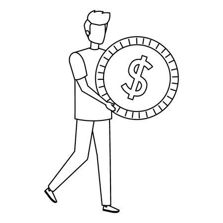 young man lifting coin money dollar vector illustration design