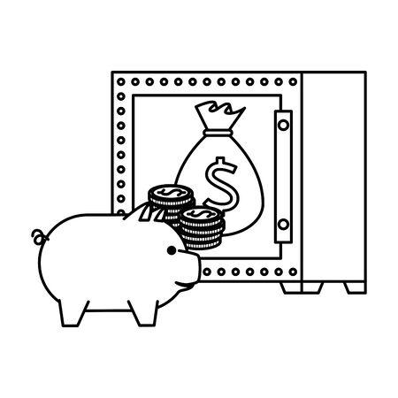 safe box with bitcoin symbol vector illustration design