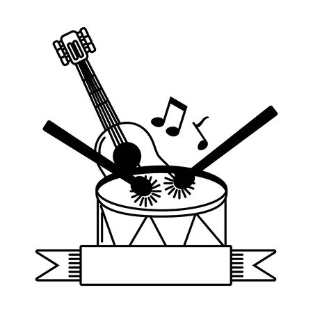 music drum and sticks and guitar ribbon emblem vector illustration Stock Vector - 129158383