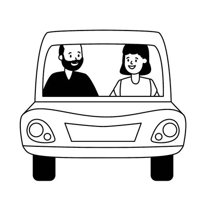 old couple in the car vector illustration design