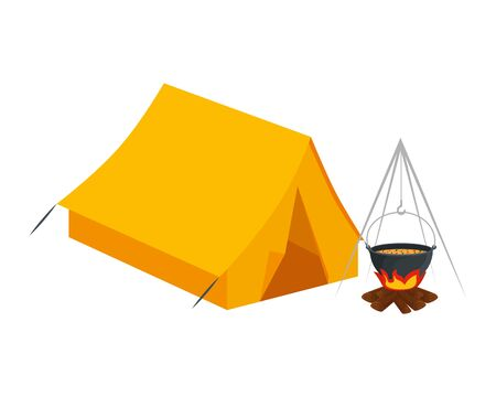 tent camping with wood fire icons vector illustration design Stock Vector - 129158398