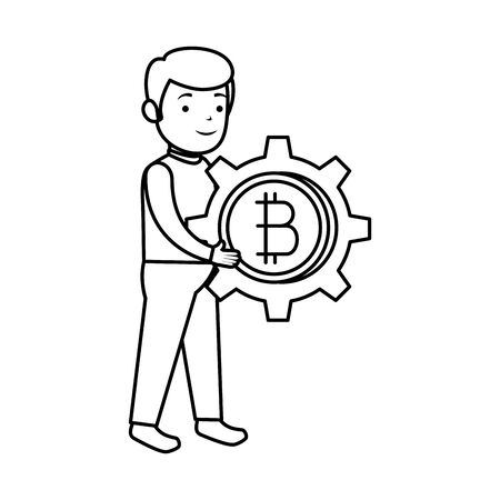 businessman lifting bitcoin icon vector illustration design Illustration