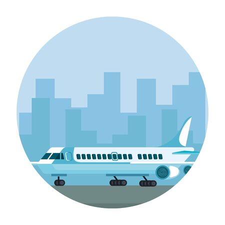 airplane in the airport track vector illustration design  イラスト・ベクター素材