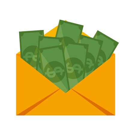 envelope with bills money dollars vector illustration design