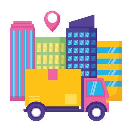 truck cardboard box destination city fast delivery vector illustration