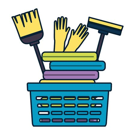 laundry basket gloves broom mop spring cleaning tools vector illustration