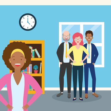 diversity men and women characters in the office vector illustration Ilustracja
