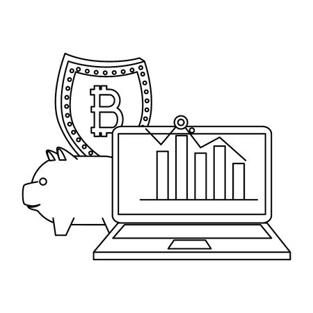 laptop computer with bitcoin commerce vector illustration design