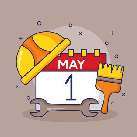 calendar brush wrench and helmet labour day vector illustration