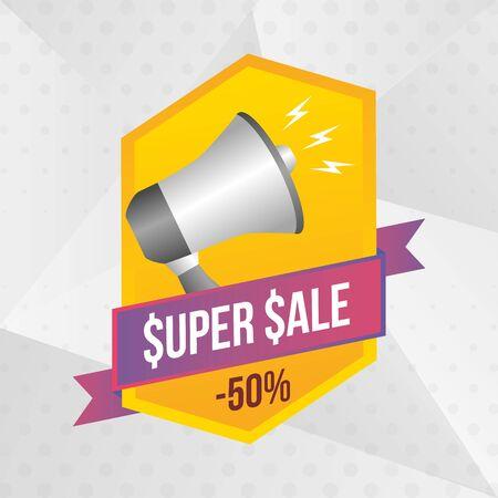 super sale off megaphone sticker vector illustration Vektorové ilustrace