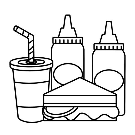 sandwich soda sauces food outline vector illustration