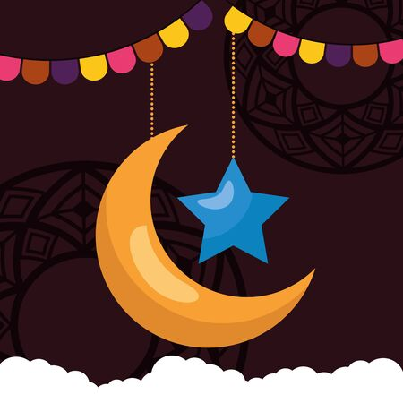 moon star clouds garland celebration eid mubarak vector illustration