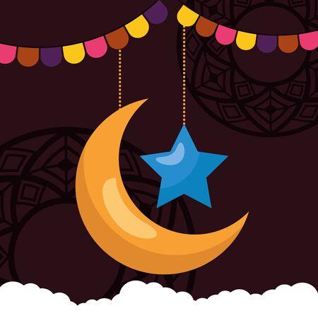 moon star clouds garland celebration eid mubarak vector illustration