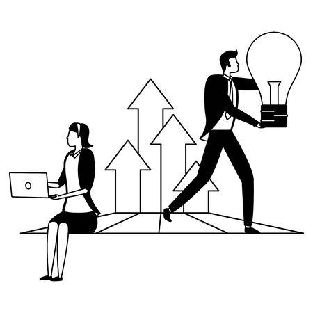 businessman and woman bulb idea laptop arrows growth business success vector illustration Ilustrace