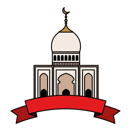 mosque building with ribbon vector illustration design Иллюстрация