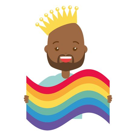 happy man with rainbow flag lgbt pride vector illustration Vettoriali