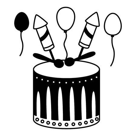 drum fireworks carnival music vector illustration design