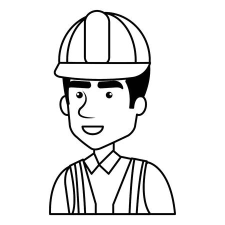 builder constructor with helmet character vector illustration design