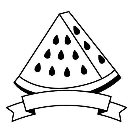 fresh watermelon fruit with ribbon stamp vector illustration design