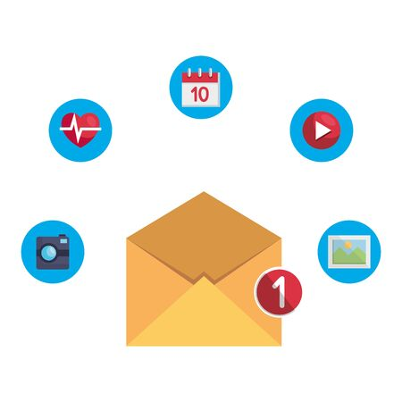 envelope mail with counter and apps menu vector illustration design Çizim