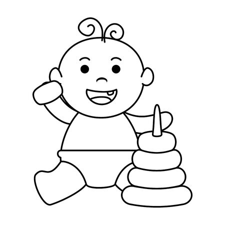 cute little baby boy with pile rings vector illustration design