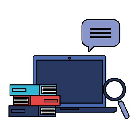 laptop with pile text books and magnifying glass vector illustration design Stock Illustratie