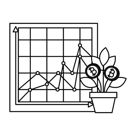 house plant with bitcoin money vector illustration design