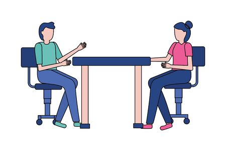 man and woman sitting on chairs office vector illustration Ilustracja
