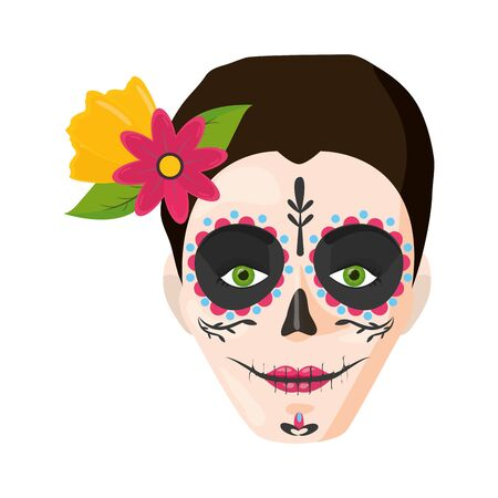 catrina skull flower character vector illustration design Standard-Bild - 129230994
