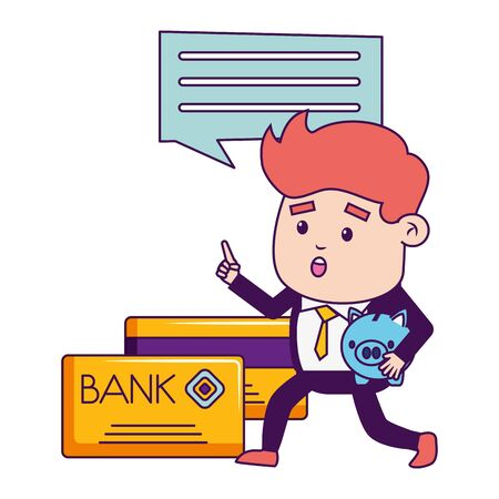 businessman online payment cards piggy bank vector illustration