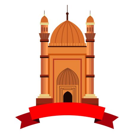 badshahi mosque building palace with ribbon vector illustration design 向量圖像