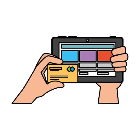 hands using tablet with credit card ecommerce vector illustration design