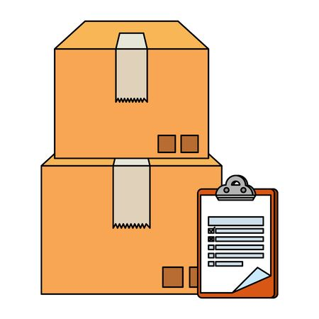 boxes carton with checklist delivery service vector illustration design Ilustracja