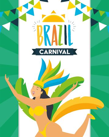 dancer with feather costume garland decoration brazil carnival celebration vector illustration Foto de archivo - 129161927