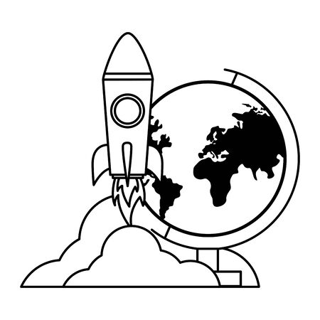 school globe rocket teachers day  vector illustration Banco de Imagens - 129231175
