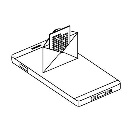 smartphone device with envelope email vector illustration design Foto de archivo - 129231172