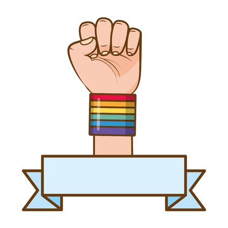 hand fist raised up rainbow colors lgbt pride love vector illustration
