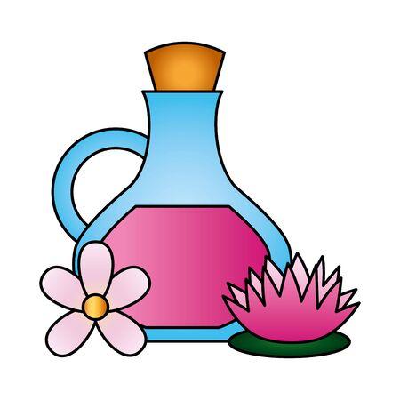 oil bottle flowers lotus spa therapy vector illustration Ilustracja