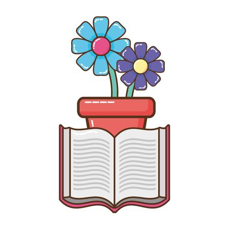 open book with flowerpot isolated icon vector illustration design Ilustracja