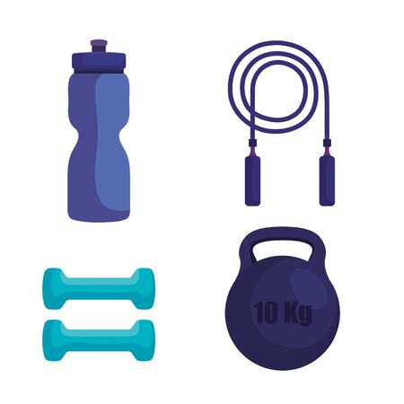 set of water bottle with rope jumping and dumbbells with weight over white background, vector illustration