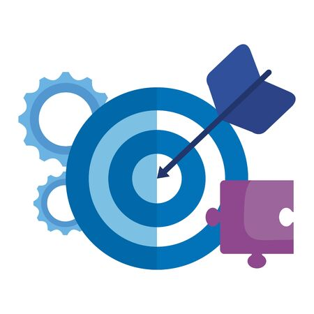 target arrow success with gears and puzzle vector illustration design